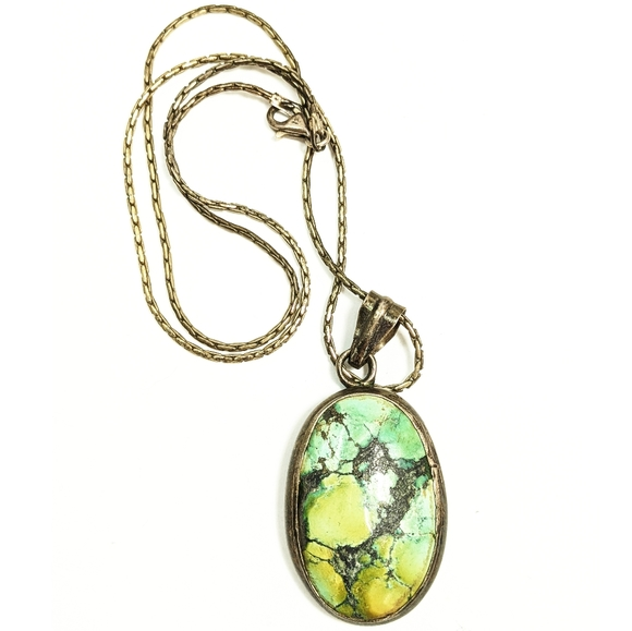Vintage Jewelry - Vintage Sterling Silver Turquoise Pendant Necklace